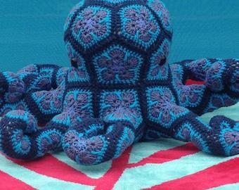 Custom Handmade crochet African Flower Octopus