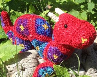 Custom handmade crochet African Flower Ogopogo