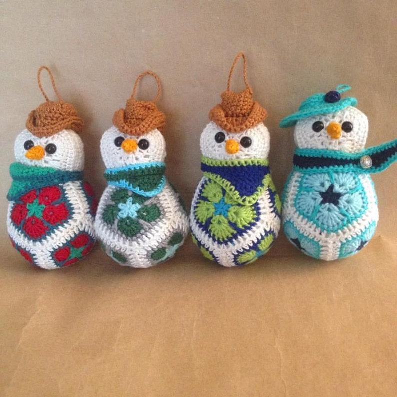 Snowmen Christmas Ornaments Crochet