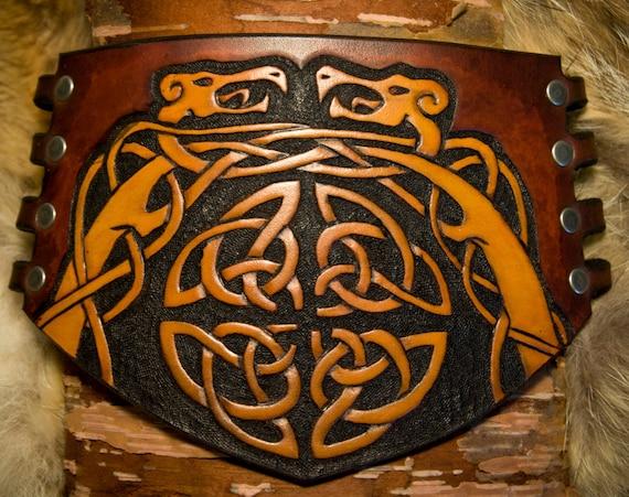 Leather Bracer - Vambrace - Dragon Cuff - Celtic Bracelet - Norse Bracer - Viking Cuff - Knot-Work