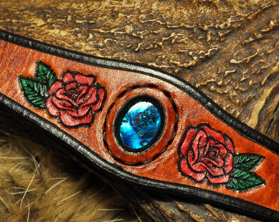 Leather Bracelet Rose Abalone Gemstone Cuff