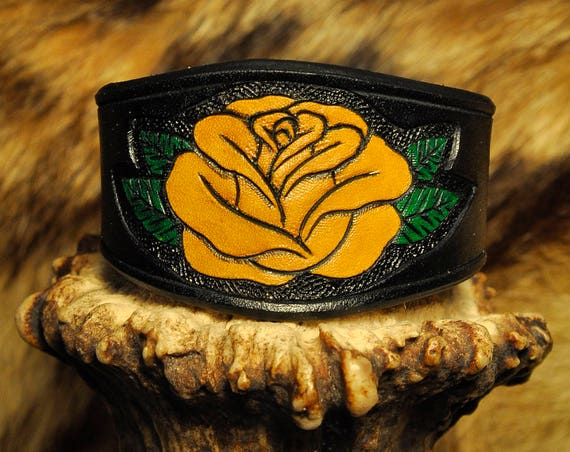 Black Leather Bracelet Rose Flower Cuff