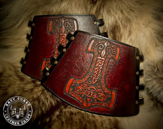 Leather Archery Bracers - Viking Cuff - Leather Vambrace - Armguard - Mjolnir - Thor's Hammer - Norse Leather3