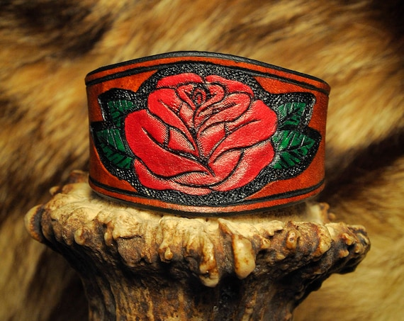 Womens Rose Bracelet - Red Rose Jewelry - Leather Bracelet - Tooled Leather Cuff - Leather Flower Bracelet - Western Jewelry