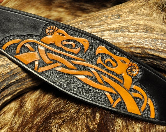 Tooled Leather Bracelet - Viking Bracer - Dragon Bracelet -Norse Cuff Celtic Knot-Work