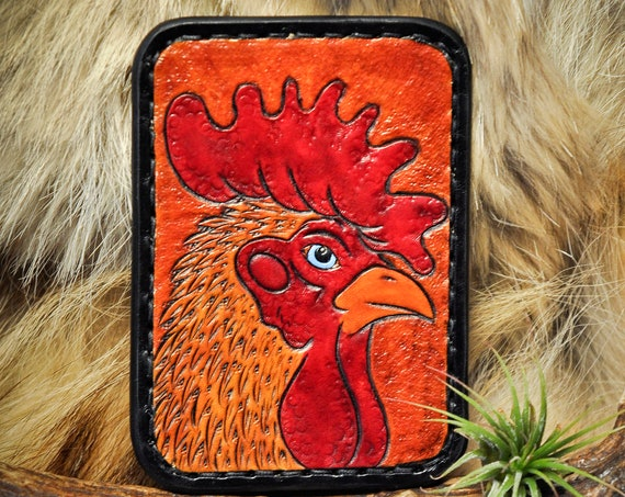Leather Card Wallet - Tooled Leather Wallet - Slim Wallet - Leather Card Case - Tooled Leather - Rooster Wallet