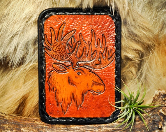 Leather Card Wallet - Minimalist Wallet - Slim Card Wallet - Mens Wallet -Moose Wallet -Tooled Leather - Custom Wallet