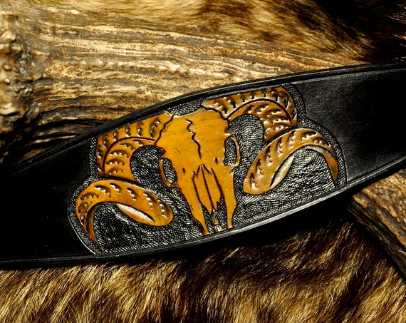 Mens Leather Cuff - Ram Skull - Tooled Leather Bracelet - Skull Bracelet
