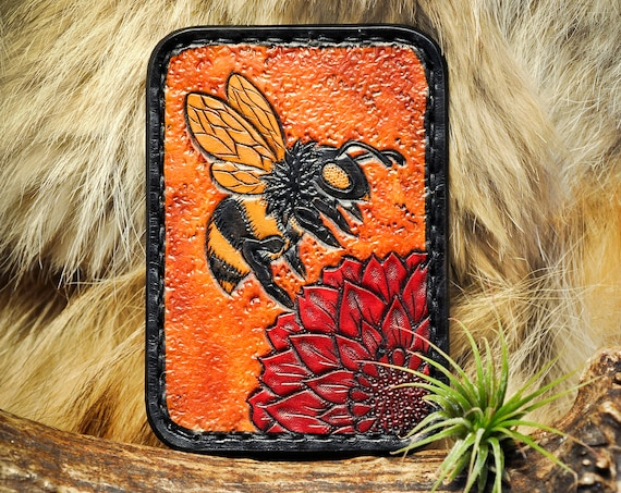 Card Wallet - Honey Bee Leather Wallet - Minimalist Wallet - Tooled Leather Wallet - Card Holder - Card Case