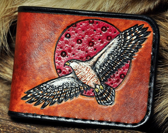 Leather Billfold Wallet - Hawk Osprey Eagle Wallet