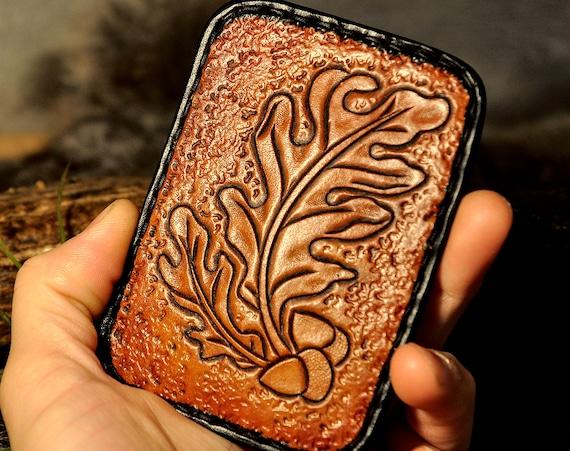Card Wallet, Leather Slim Wallet, minimalist Wallet, Card Holder, Tooled Leather, Carved Leather, Pocket Wallet, Western Wallet, Oak Leaf