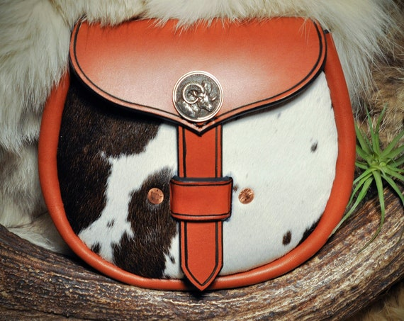 Sporran - Leather Belt Pouch - Belt Bag - Kilt Bag - Leather Sporran - Scottish Celtic Viking - Ram Head