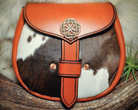 Leather Belt Pouch - Sporran - Kilt Bag - Cowhide Pouch - Scottish - Viking - Celtic - Leather Pouch