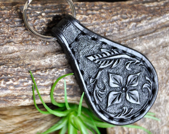 Tooled Leather Keychain Fob - Western leather laynard -Double sided