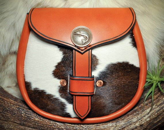 Leather Sporran - Kilt Bag - Belt Pouch - Belt Bag - Fur Cowhide Sporran - Viking - Scottish - Celtic