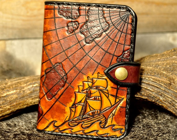 Passport Case, Field Notes Cover, Passport Wallet, Passport Holder, Leather Passport, Tooled Leather, Carved Leather, Nautical Wallet, Ship,