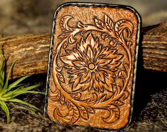 Slim Wallet, Card Holder Card Wallet, Minimalist Wallet, Tooled Leather Wallet, Western Wallet, Floral Wallet, Business Card Wallet