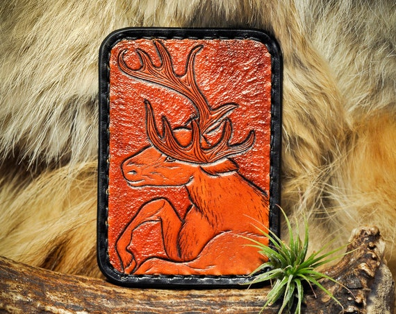 Mens Leather Wallet - Slim Wallet - Card Wallet - Minimalist Wallet - Antler - Deer - Hunting Wallet