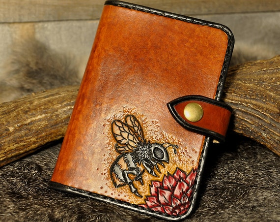 Passport Holder, Carved Leather, Passport Case, Travel Wallet, Passport Wallet, Tooled Leather Wallet,Field Notes Cover, Bumble Bee