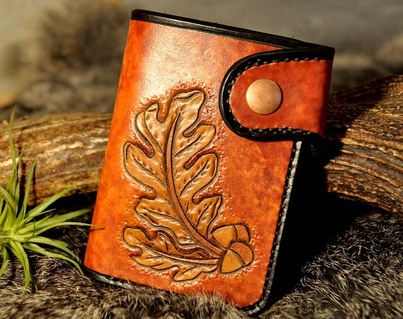Leather Billfold Wallet, Leather Walled, Tooled Leather Wallet, Bifold, Men's Gift, Western Wallet, Snap Wallet, Carved Leather,Hand Crafted