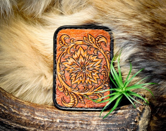Leather Minimalist Wallet - Tooled Leather Card Wallet - Western Leather Wallet - Floral Wallet - Card Wallet - Slim Wallet