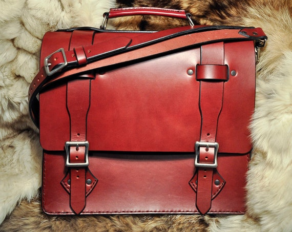 Leather Briefcase - Leather Laptop Bag - Leather Messenger Bag - English Bridle Leather - Leather Travel Bag - Mens Leather Bag