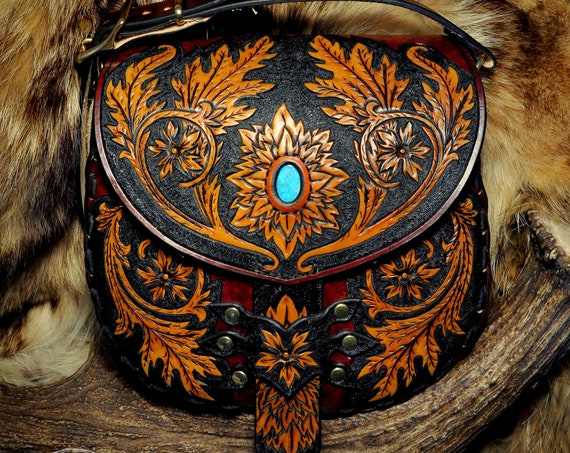 Victorian Purse - Scroll-work Bag - Western Purse - Turquoise Purse - Tooled Leather Bag - Messenger Bag - Crossbody - Handcrafted Purse