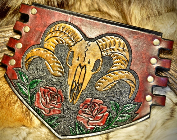 Leather Bracer -Armguard - Archery Bracer - Tooled Leather Cuff - Ram Skull - Leather Vambrace - Skull and Roses - Leather Skull Cuff