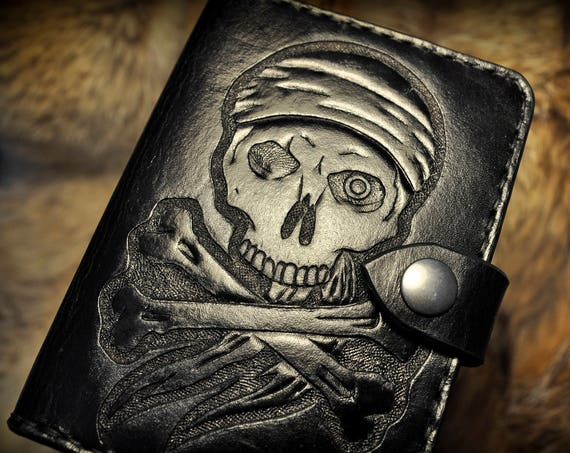 Tooled Leather Passport Cover Pirate Skull