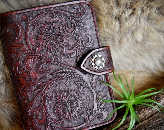Leather Passport Cover - Fieldnotes Cover - Travel Wallet - Western Wallet - Tooled Leather Wallet - Passport Wallet - Mens Wallet