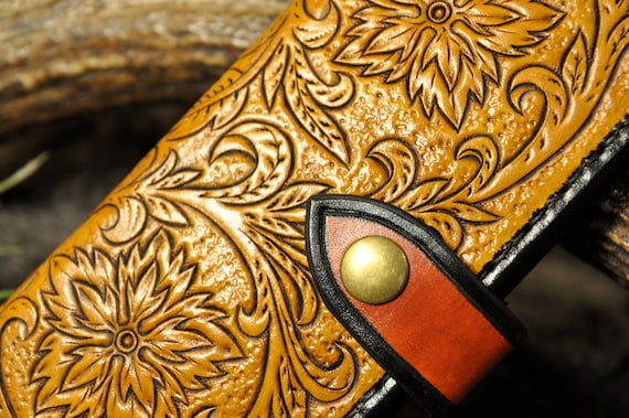 Tooled Leather Long Wallet, Long Wallet, Women's Wallet, Men's Wallet, Card Wallet, Western Wallet, Billfold, Bifold, Carved Leather, Floral