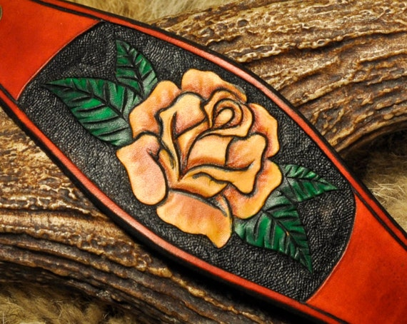 Rose Bracelet - Leather Rose Bracelet - Leather Flower - Tooled Leather Bracelet - Floral Bracelet - Western Bracelet - Yellow Rose