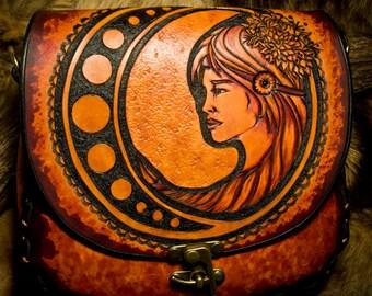DISCOUNT SALE - Leather Crossbody Purse Art Nouveau Goddess