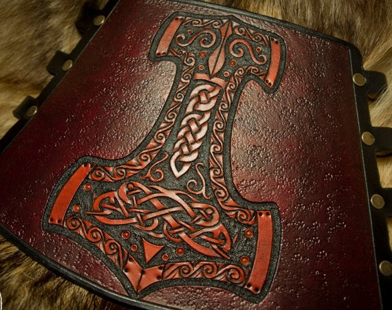 Leather Archery Bracers - Viking Cuff - Leather Vambrace - Armguard - Mjolnir - Thor's Hammer - Norse Leather
