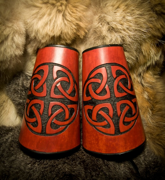 Leather Archery Bracer Viking Cuffs Celtic Knot-Work Vambrace
