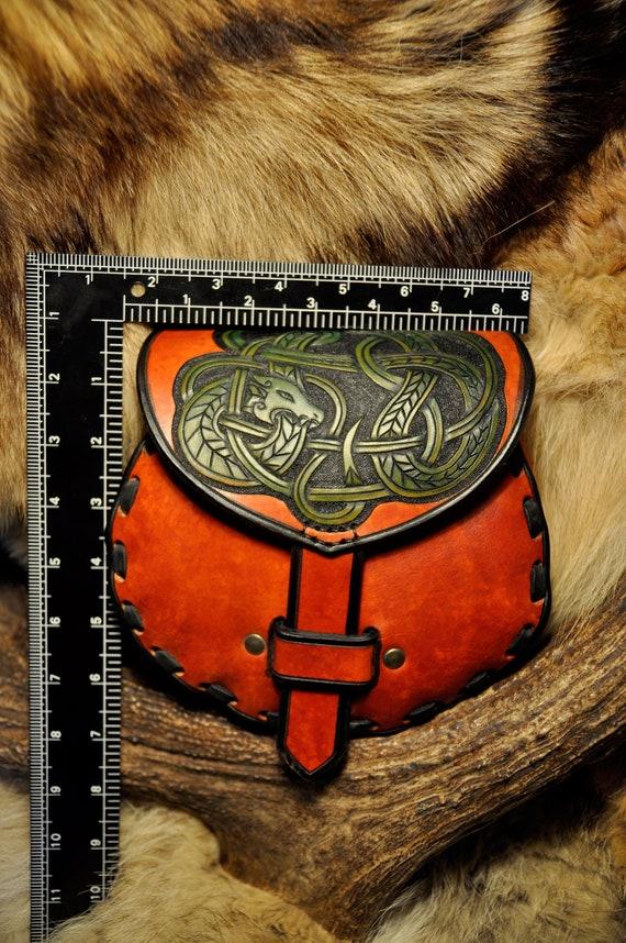 SALE - Leather Sporran - Kilt Bag - Tooled Leather Bag - Belt Bag - Dragon - Belt Pouch