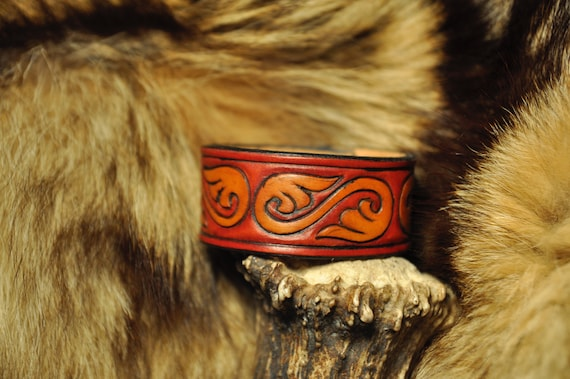 Victorian Leather Bracelet - Leather Cuff - Handmade Bracelet - Tooled Leather Bracelet
