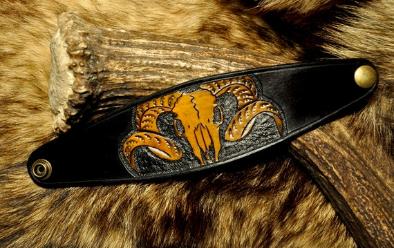 Black Leather Skull Bracelet Cuff - Ram Skull - Animal Skull