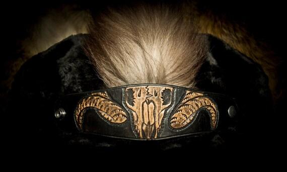 Mens Leather Cuff - Leather Skull Bracelet - Ram Skull - Skull Cuff - Leather Bracer - Tooled Leather Bracelet - Black Leather Cuff