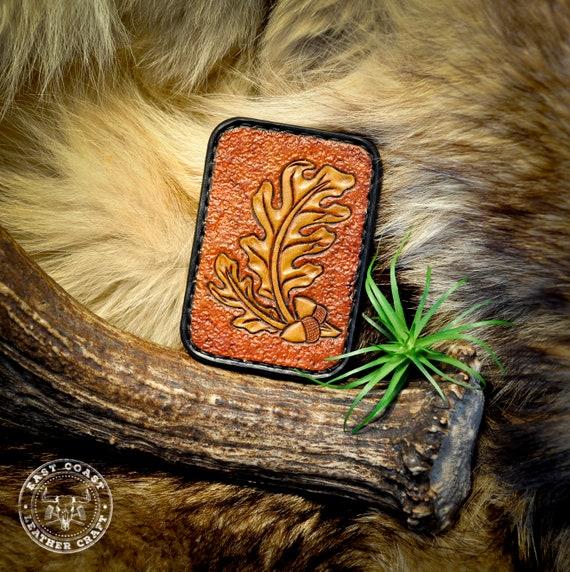 Tooled Leather Minimalist Card Wallet - Slim Wallet