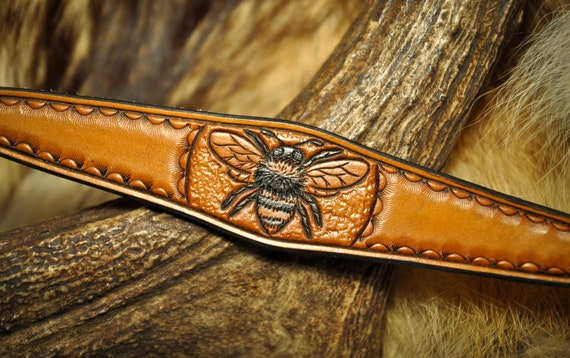 Leather Bracelet - Honey Bee Jewelry Bracelet Cuff