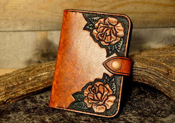 Passport Holder, Carved Leather, Passport Case, Travel Wallet,Passport Wallet,Tooled Leather Wallet,Field Notes Cover, Western, Rose Wallet