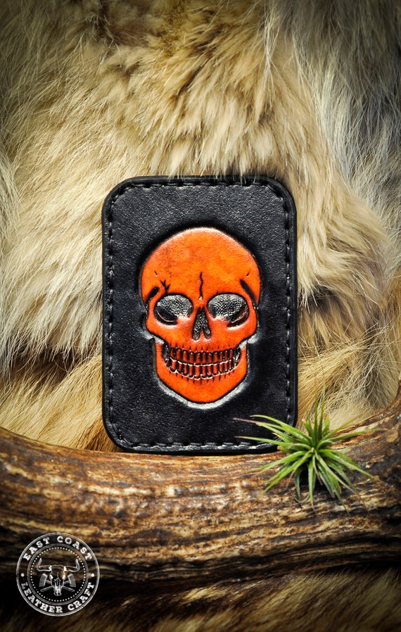 Skull Wallet - Leather Card Wallet - Minimalist Wallet - Card Holder - Leather Card Case - Slim Wallet - Tooled Leather Wallet