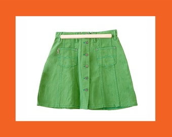 ad68b2273feeb8 GREEN MINI Denim Skirts - mini skirt button up skirt jean skirt high waist  skirt vintage 90s skirt size 28 / 29 / 30 / xs / s / m / l