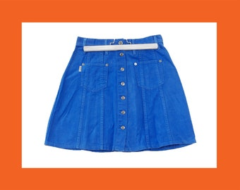 d80a1b664fb97d BLUE MINI Denim Skirts - mini skirt button up skirt jean skirt high waist  skirt 90s skirt size 27 / 28 / 29 / 30 / 31 / xs / s / m / l