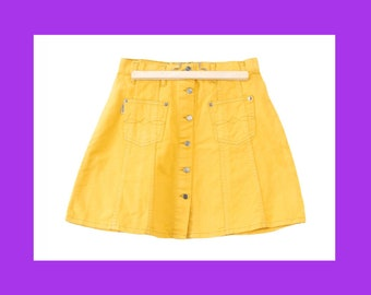 87c0279237fc63 YELLOW MINI Denim Skirts - mini skirt button up skirt jean skirt high waist  skirt 90s skirt size 27 / 28 / 29 / 30 / 31 / xs / s / m / l