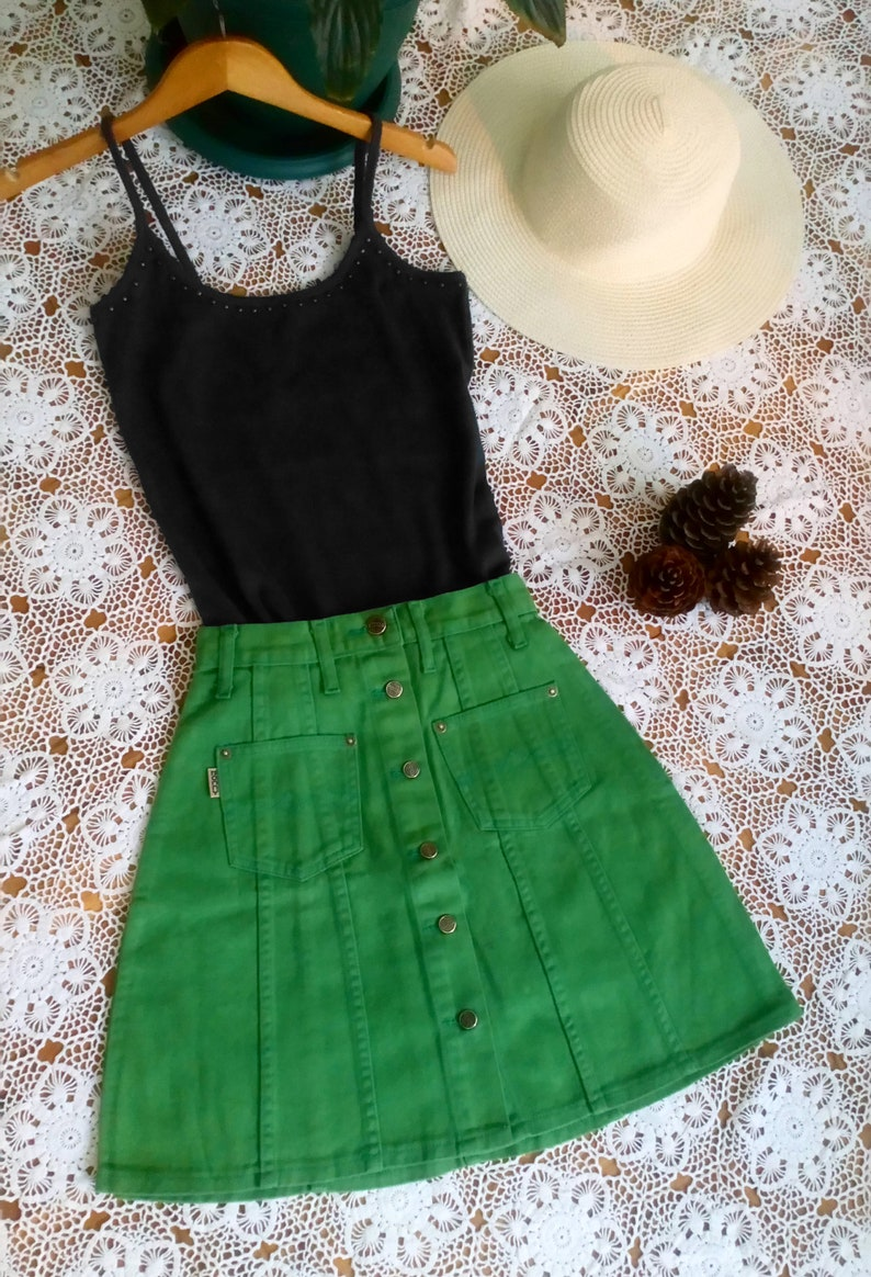 mini skirt  button up skirt jean skirt high waist skirt vintage 90s skirt size  28  29  30  xs  s  m  l Green Denim Skirts