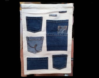 Vertical Pocket Organizer from Upcycled Jeans - wall organizer