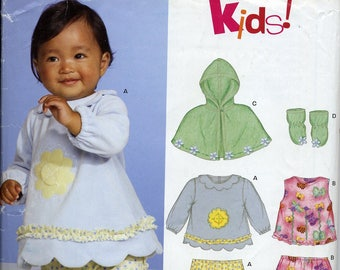 Adorable baby tops, bottoms, capelet pattern, New Look Kids 6549, Newborn to Large, UNCUT