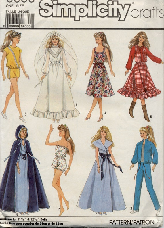 Barbie Clothes Pattern 40 Simplicity 40 Wedding Gown Etsy Magnificent Barbie Clothes Patterns
